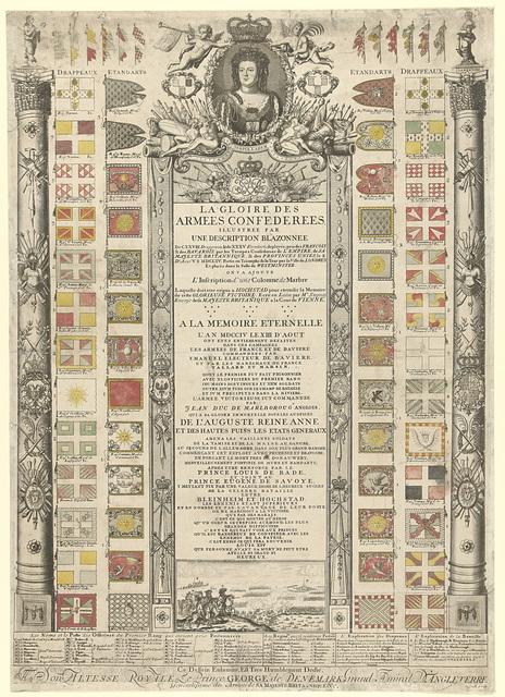 Overzicht van de tijdens de slag bij Höchstädt op de Fransen en Beiersen veroverde vaandels, 1704