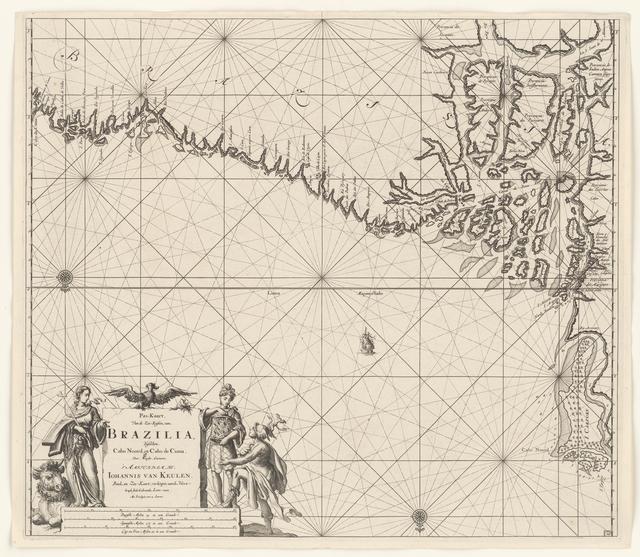 Paskaart van een gedeelte van de kust van Brazilië met de delta van de Amazone rivier