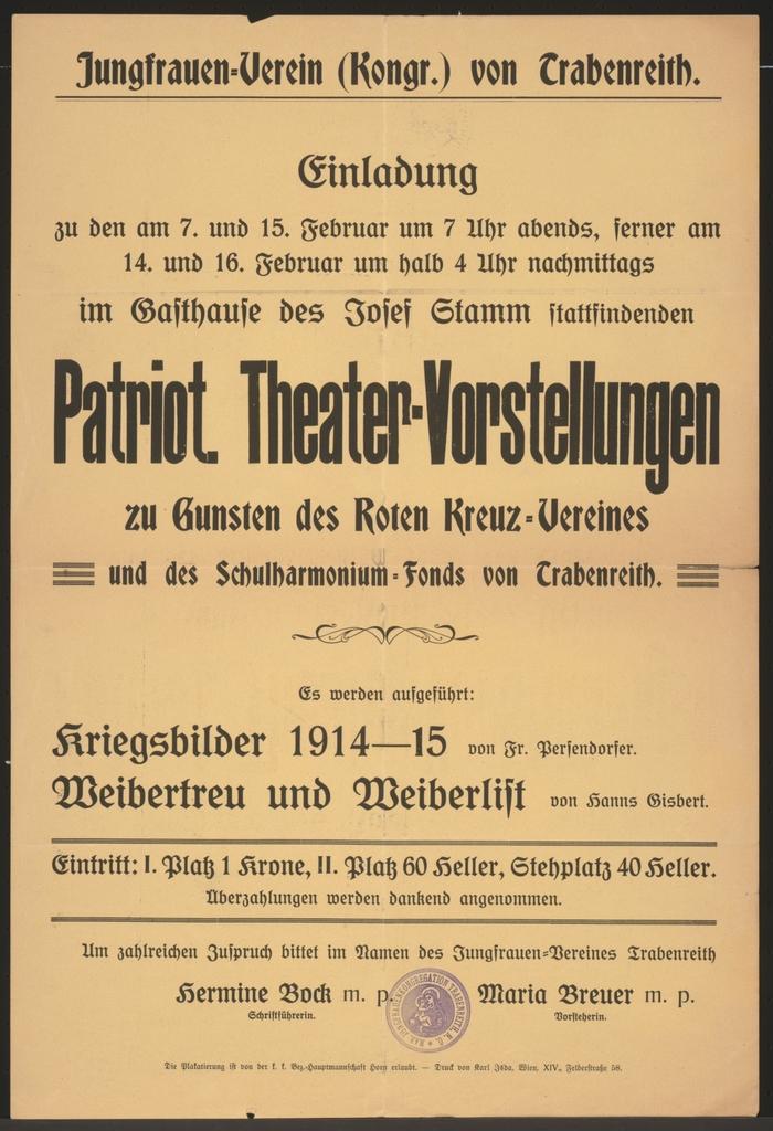 Patriotische Theater-Vorstellungen - Jungfrauen-Verein von Trabenreith