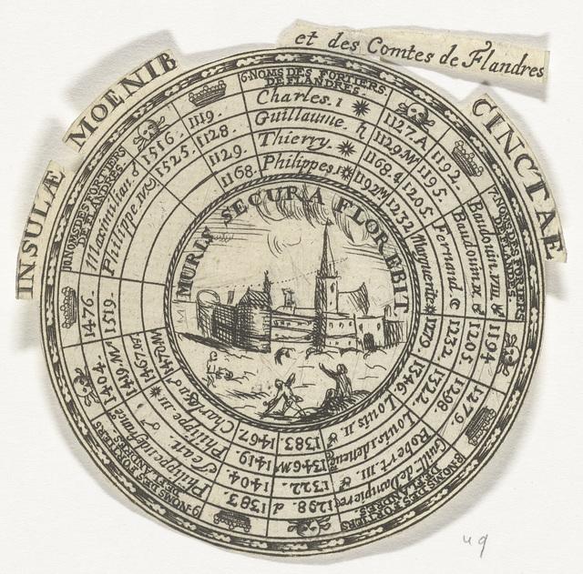Penning met een embleem en de namen van de graven van Vlaanderen