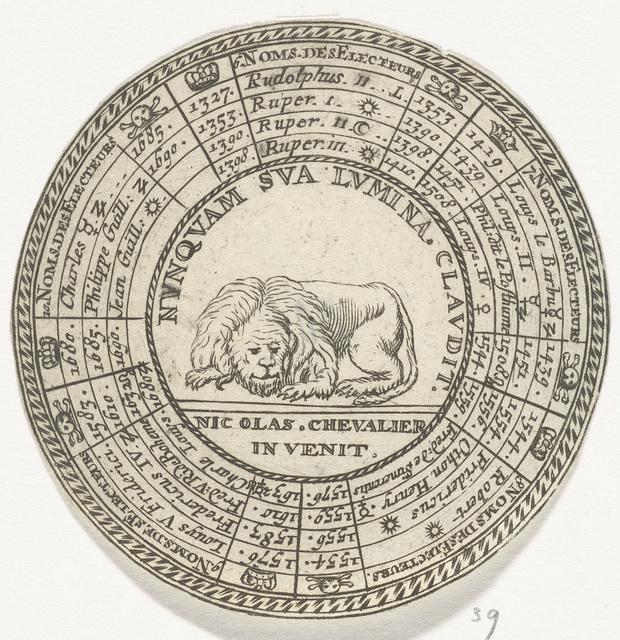 Penning met een embleem en de namen van de keurvorsten van de Palts