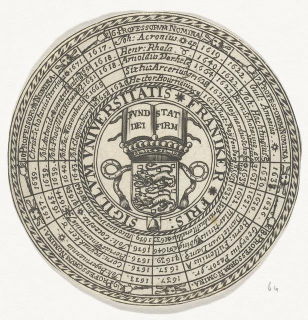 Penning van de Universiteit van Franeker, met de namen van de hoogleraren en het wapen van de universiteit