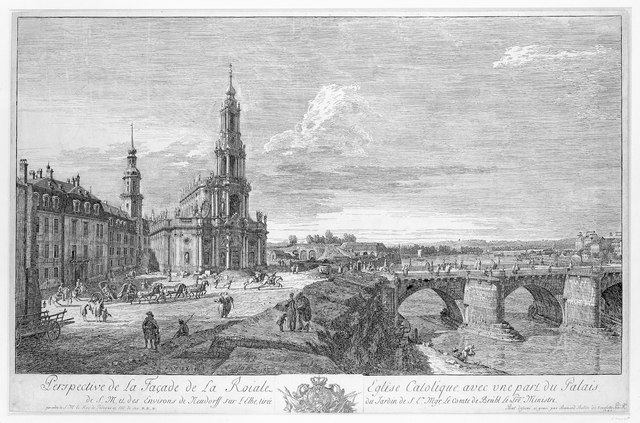 "Perspective de la facade Roijale de l'Eglise Catolique....environs de Neudorff sur l'Elbe (de ""Hofkirche"" in Dresden)"