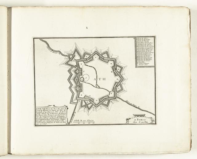 Plattegrond van Ath, ca. 1702