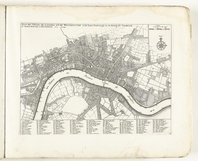 Plattegrond van Londen, ca. 1702