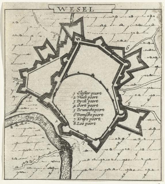 Plattegrond van Wesel, 1631-1632