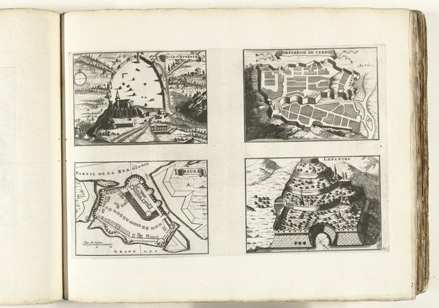 Plattegronden en gezichten op Athene, Cerigo, Santa Maura en Lepanto, ca. 1702