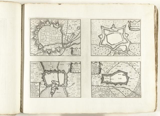 Plattegronden van Fribourg, Benfeld, Haguenau en Stollhofen, ca. 1702