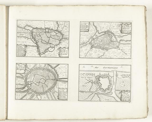 Plattegronden van Gent, Aalst, Brugge en Oostende, ca. 1702