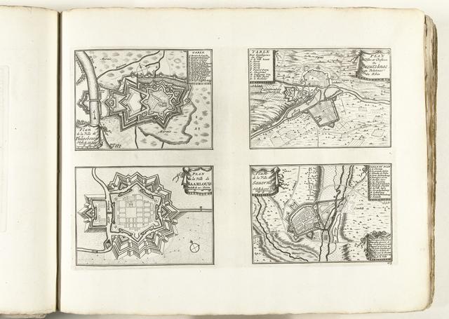 Plattegronden van Philippsburg, Kreuznach, Saarlouis en Saverne, ca. 1702