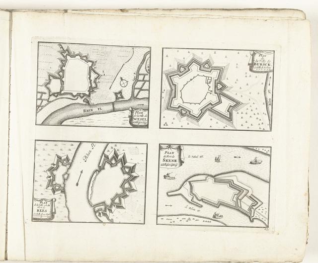 Plattegronden van Wesel, Burick, Rees en Schenckenschans, ca. 1702