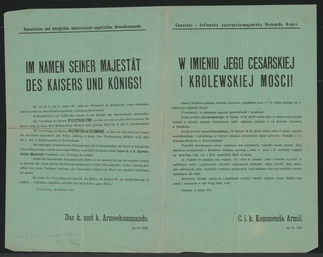 Polnische Gebiete - Im Namen seiner Majestät des Kaisers und Königs! - Petrikau - Mehrsprachiges Plakat