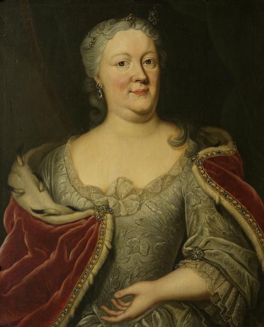 Portrait of Maria Louisa van Hessen-Kassel, known as Marijke Meu, Widow of the Frisian Stadtholder John William Friso, Prince of Orange-Nassau
