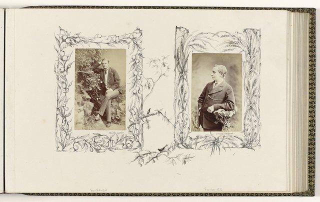 Portret Ernest Layard in rustiek decor, omzoomd door tekening graan rond hekwerk