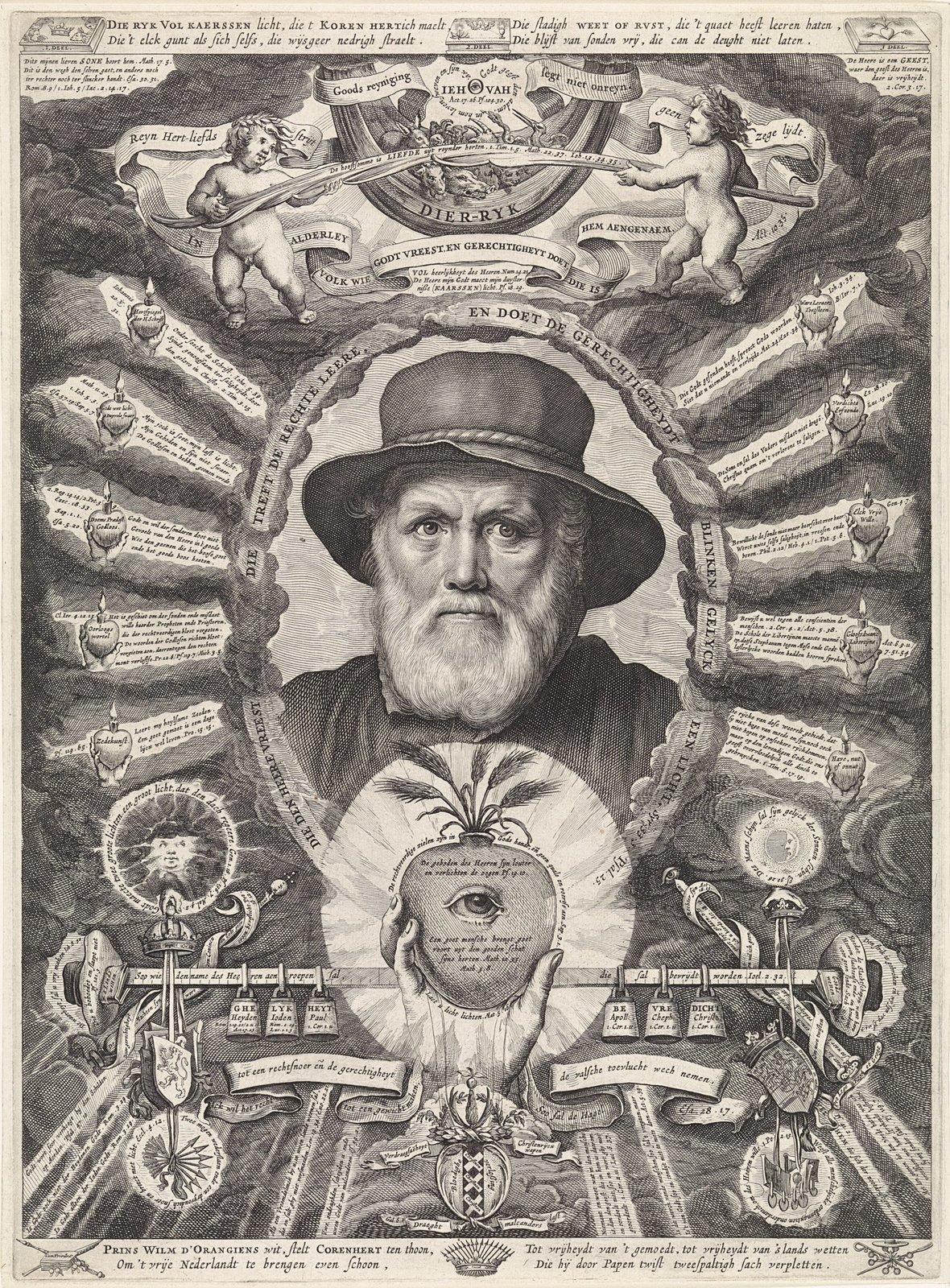 Portret van Dirck Volckertsz Coornhert in allegorische omlijsting