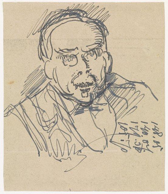 Portret van een heer met een bril, driekwart naar rechts
