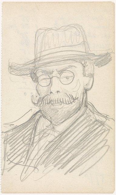 Portret van een heer met hoed en bril