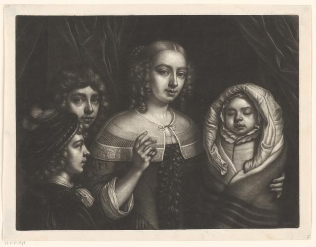 Portret van een jonge vrouw met drie kinderen