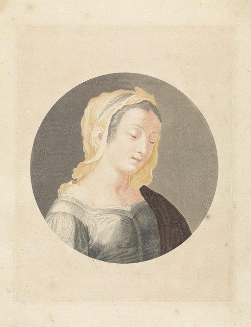 Portret van een jonge vrouw met neergeslagen ogen