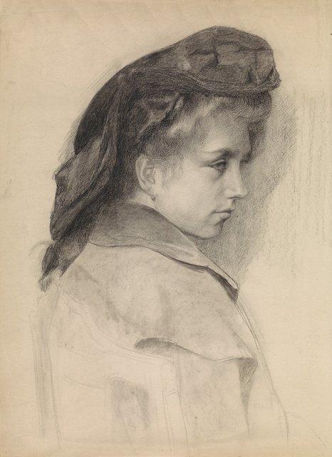 Portret van een jonge vrouw, naar rechts