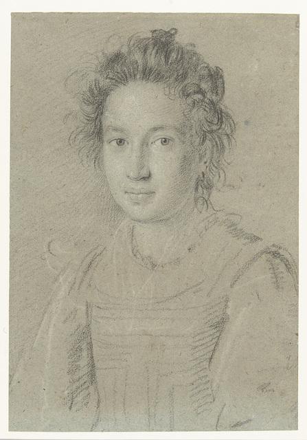 Portret van een jonge vrouw, ten halven lijve naar links