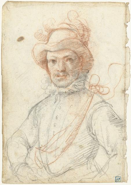 Portret van een krijgsman, met gepluimde hoed