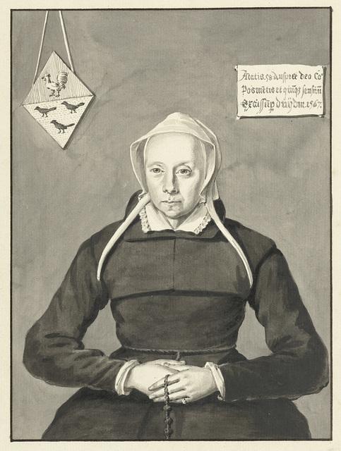 Portret van een man met bontkraag en pet, met het familiewapen van Van Slingelandt