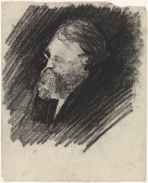 Portret van een man met een baard en een pijp