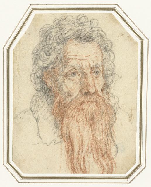 Portret van een man met krullend haar en een baard