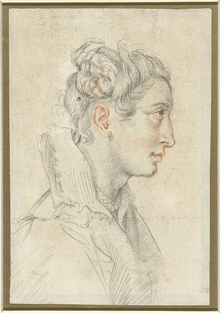Portret van een onbekende jonge vrouw in profiel