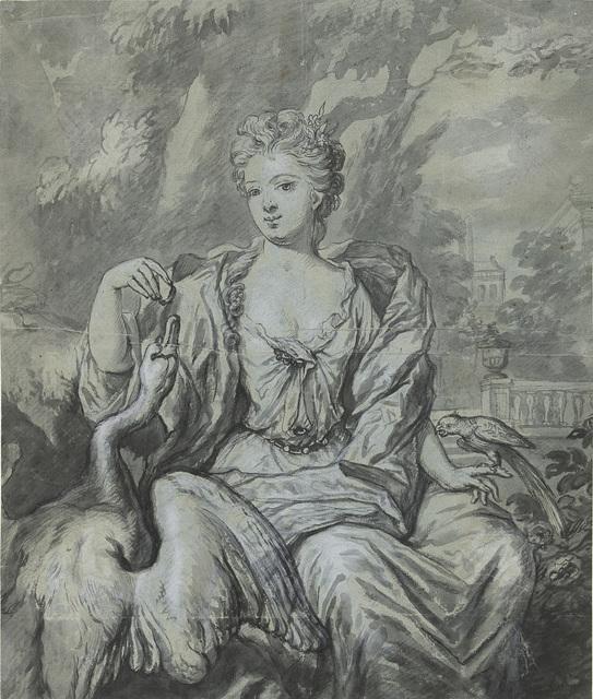 Portret van een vrouw met een zwaan en een papegaai in een tuin