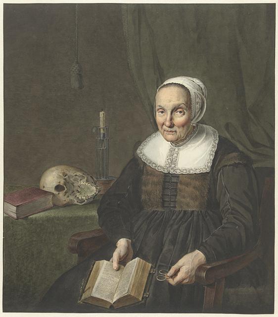 Portret van een zittende oude vrouw met opengeslagen boek