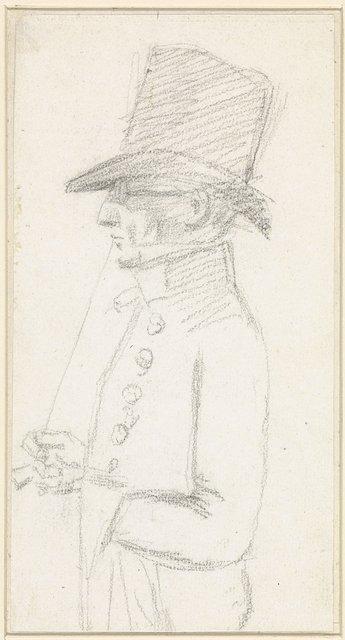Portret van Hendrik de Flines en profiel met hoed en bril