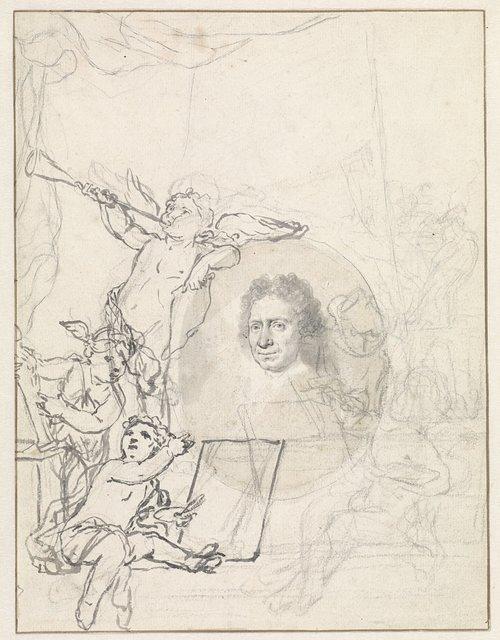 Portret van Johannes Bronkhorst omringd door putti