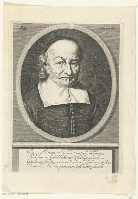 Portret Van Joost Van Den Vondel Op 84 Jarige Leeftijd