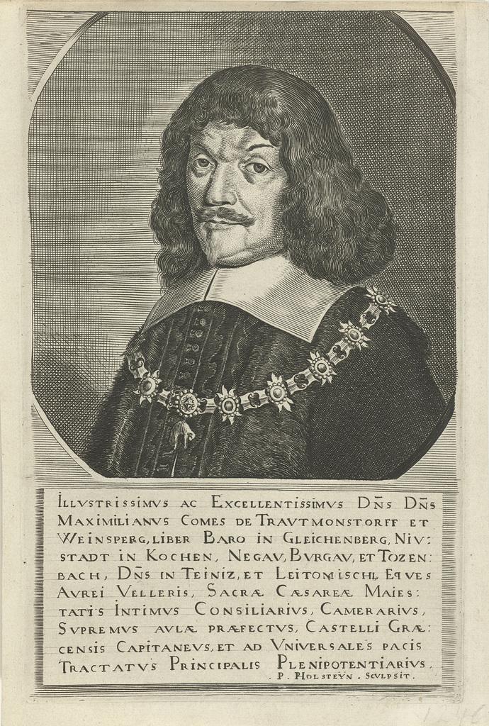 Portret van Maximiliaan, graaf van Trauttmansdorff