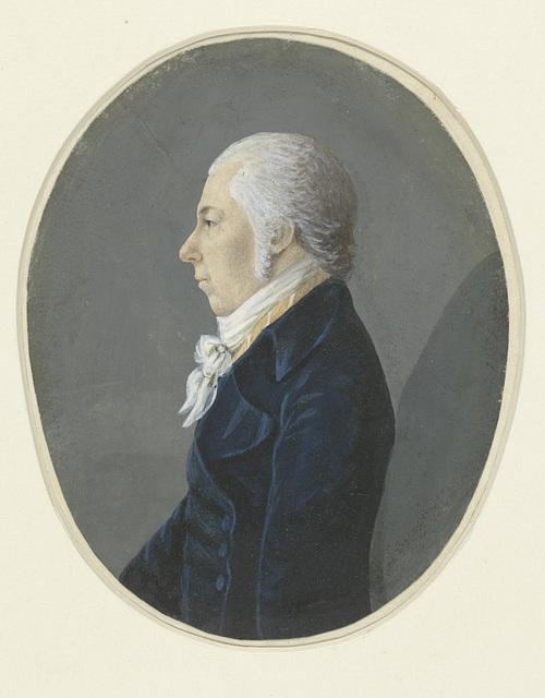 Profielportret van een heer in blauwe rok, naar links