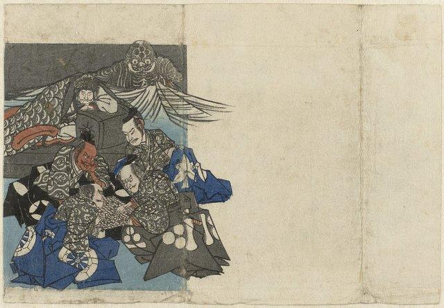 Raikô en zijn leenheren rond een gô-bord