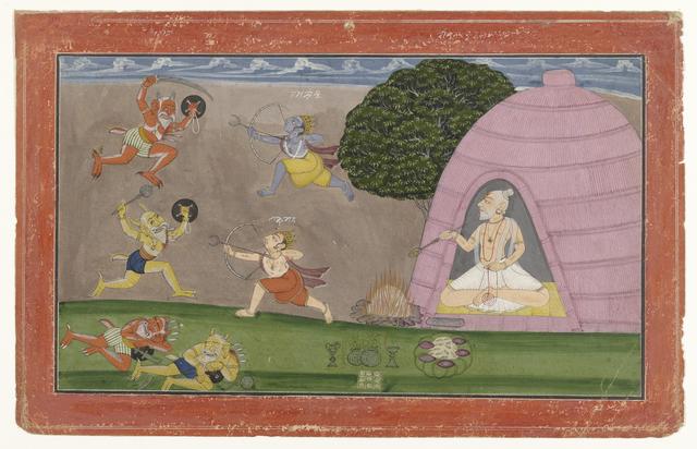 Rama en Lakshmana strijden tegen de  demonen Maricha en Suvahu