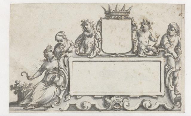 Rechthoekige cartouche met een wapenschild en vijf figuren