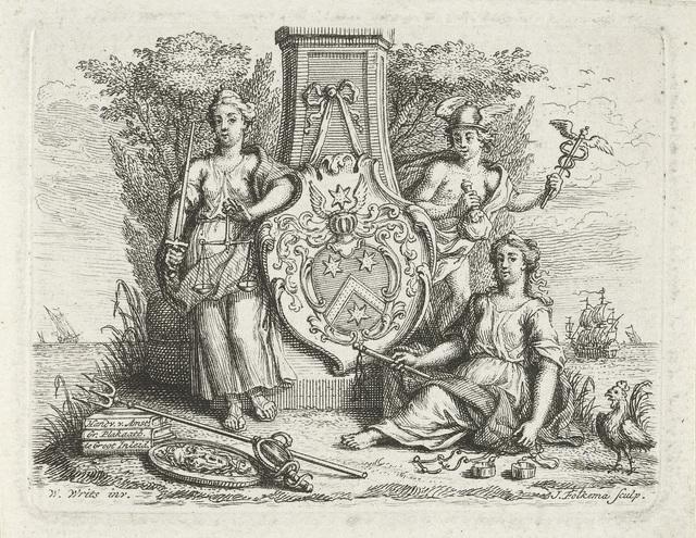 Rechtvaardigheid, Matigheid en Mercurius bij een gedenkzuil
