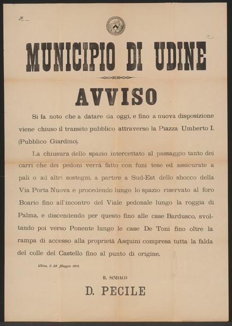 Regelung des Verkehrs - Bekanntmachung - Udine - In italienischer Sprache