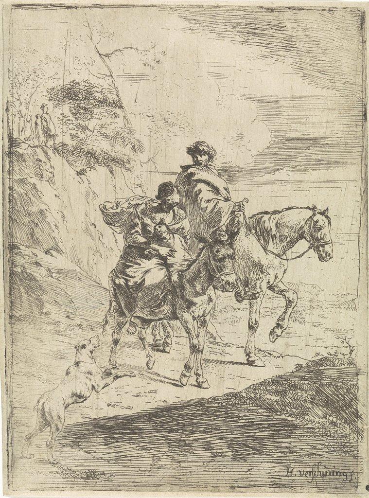 Reizigers in een berglandschap