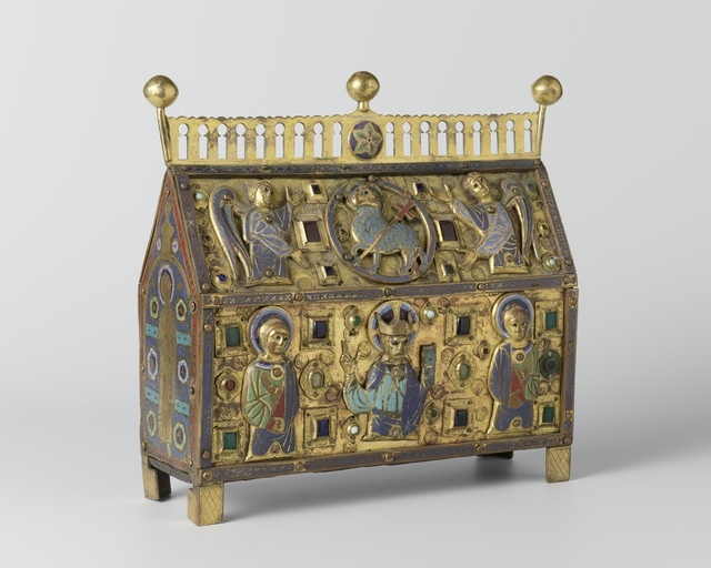 Reliquary decorated with Christ, saints and angels