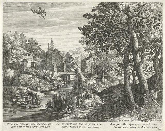 Rivierlandschap met het embleem over een ongelijk paar belaagd door Cupido en de Dood