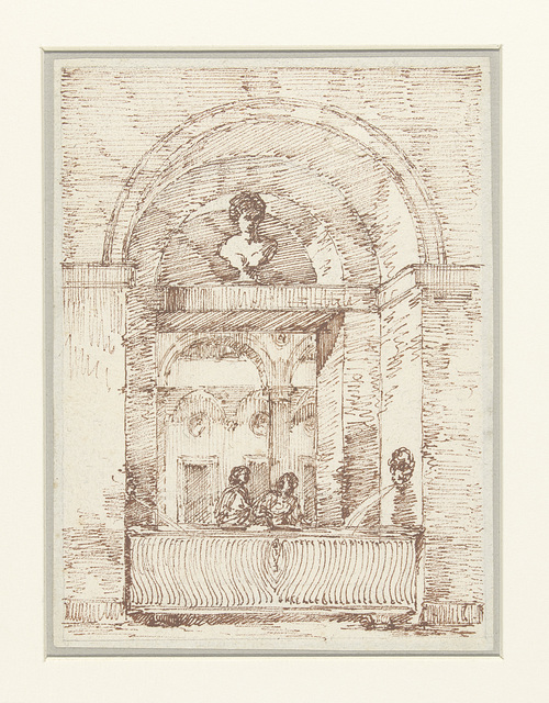 Romeins portiek met twee vrouwen die water halen
