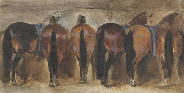 Rustende paarden op stal