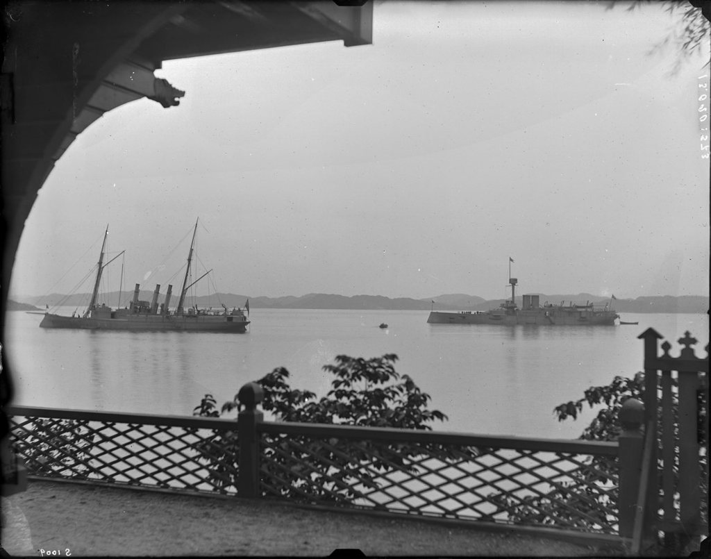 """Armoured boat """"Svea"""" and a gunboat. Late 1800s. Besides Curman villa, Lysekil."""
