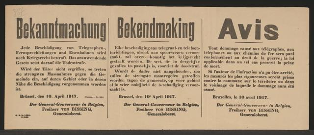Sabotage, Kriegsrecht - Bekanntmachung - Brüssel - Mehrsprachiges Plakat