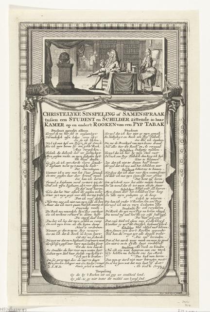 Samenspraak tussen een student en een schilder over het roken van een pijp, ca. 1700